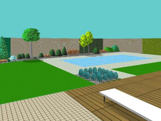 Pohled z terasy k bazénu