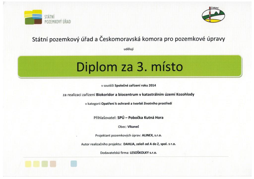 3.místo za projekt v kategorii Opatření k ochraně a tvorbě životního prostředí